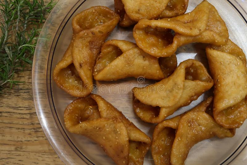 Pestiños:季节性西班牙食物 库存照片