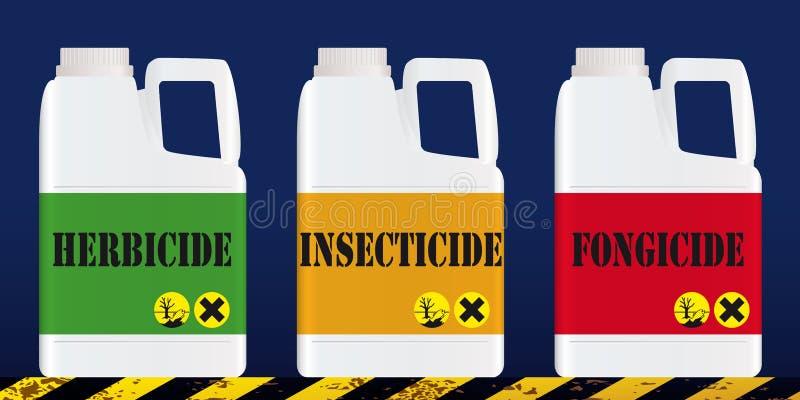 Pesticidas usados en agricultura y problemas ambientales ilustración del vector