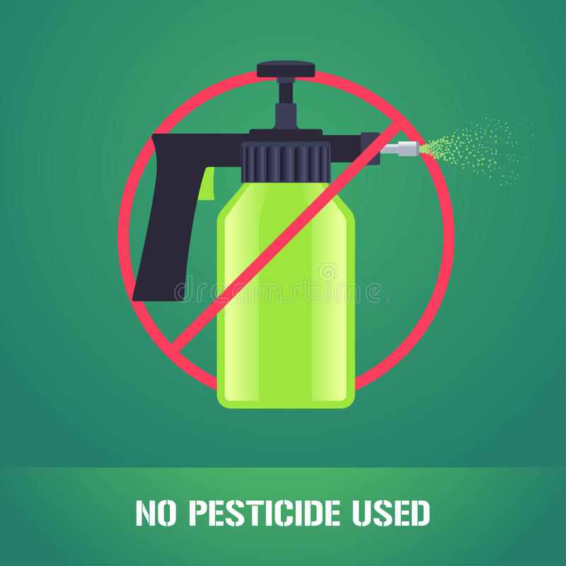 Pesticide spray in prohibition sign vector illustration royalty free illustration