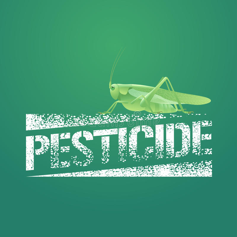 Pesticide vector logo, icon, symbol, emblem. Design element with realistic locust for pest insects control chemicals royalty free illustration
