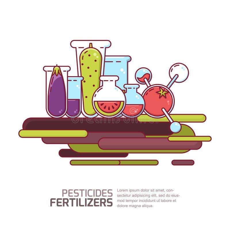 Pesticiden, meststoffenconcept Vectorillustratie van groenten en korrels met chemische producten Landbouwtechnologieën vector illustratie