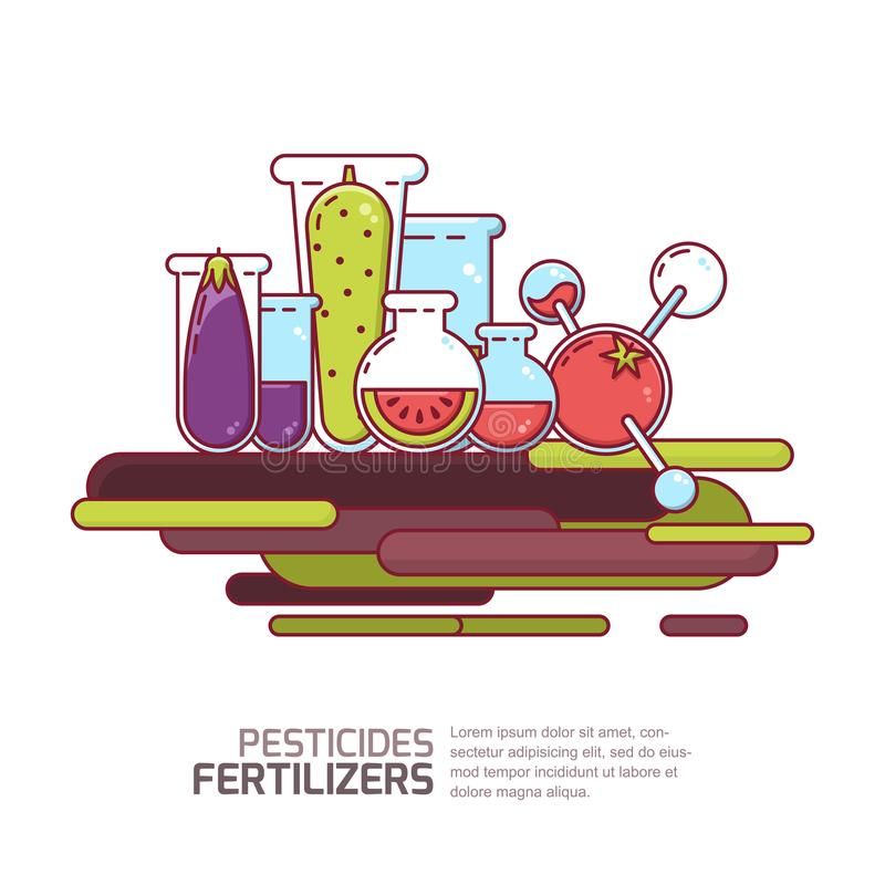 Pesticides, fertilizers concept. Vector illustration of vegetables and grains with chemicals. Agriculture technologies. vector illustration