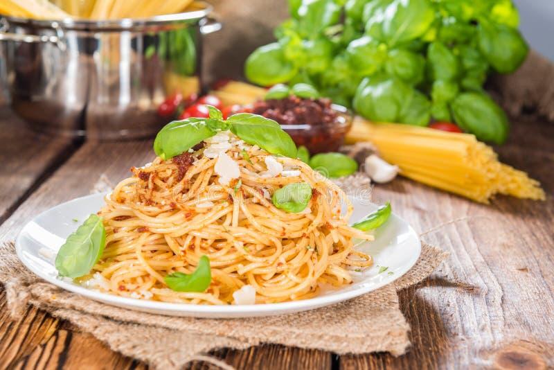 Pesto спагетти и томата стоковое изображение