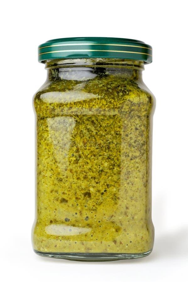 Pesto: basilicum saus royalty-vrije stock foto
