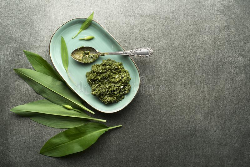 Pesto d'ail sauvage image stock