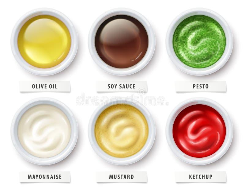 Pesto för sojabönor för ketchup för såsolivoljamajonnäs senapsgult ocks? vektor f?r coreldrawillustration royaltyfri illustrationer