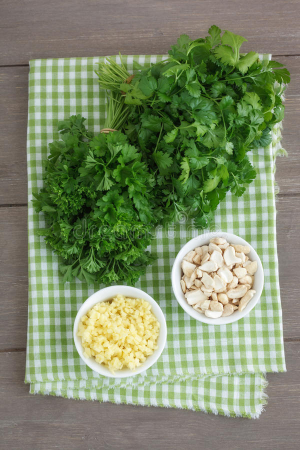Download Pesto ingredients stock image. Image of topview, prepare - 25858421