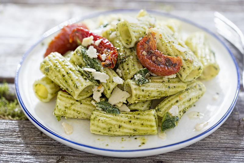 Pesto Pasta Salad. With Sundried Tomatoes stock photo