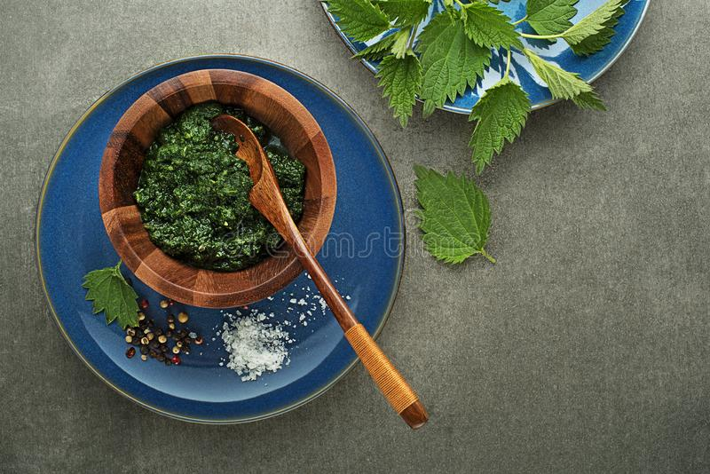 Pesto van netelbladeren stock fotografie