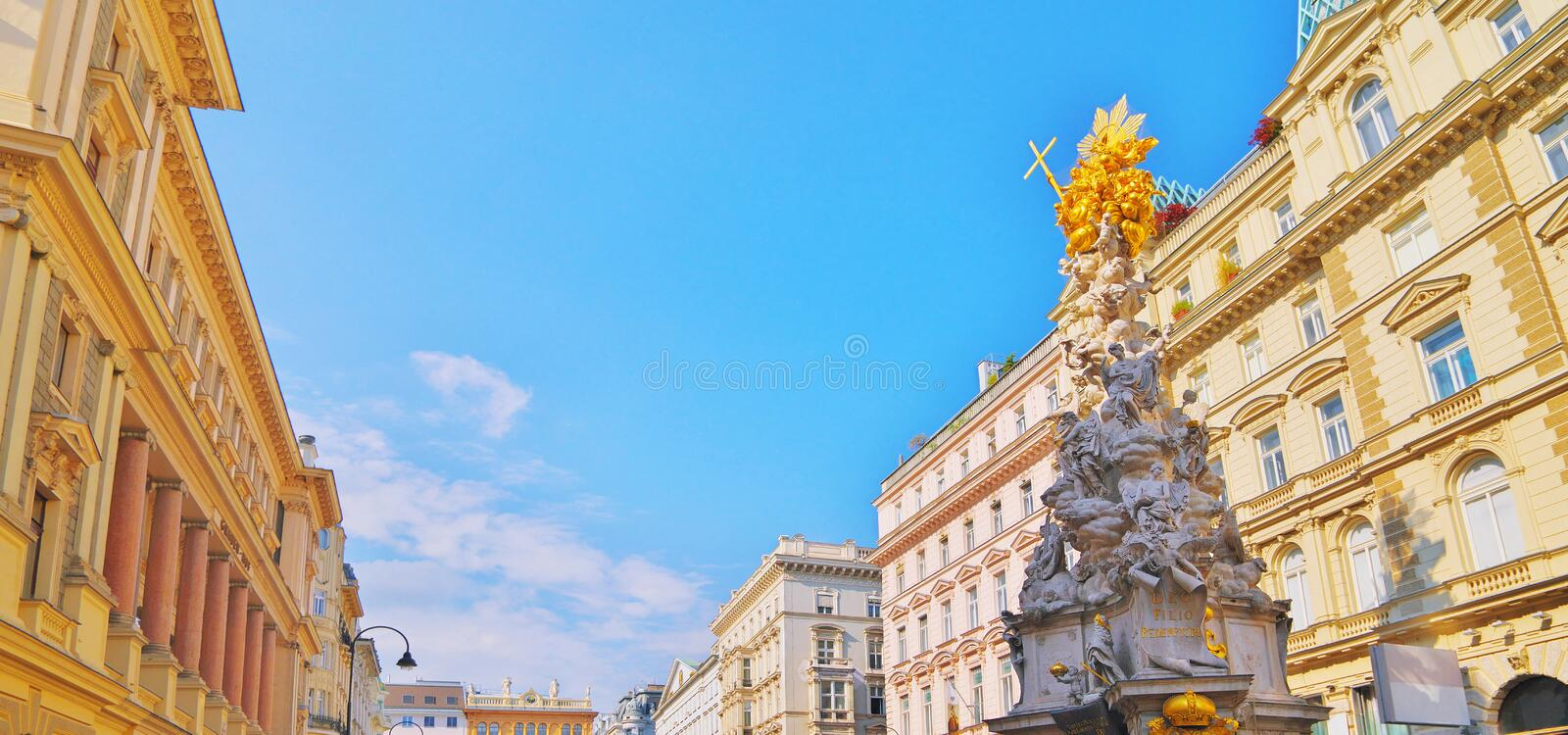 Pestsaule on Graben, a famous pedestrian street of Vienna with a Memorial Plague Column. old town main street in Vienna, capital stock photo