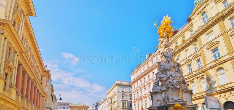Pestsaule på Graben, en berömd fot- gata av Wien med en minnes- epidemikolonn huvudsaklig gata för gammal stad i Wien, huvudstad arkivfoto