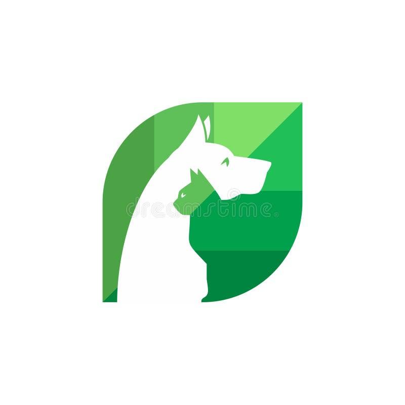 Pet και κτηνιατρικό λογότυπο, ζωική ομάδα εραστών ελεύθερη απεικόνιση δικαιώματος