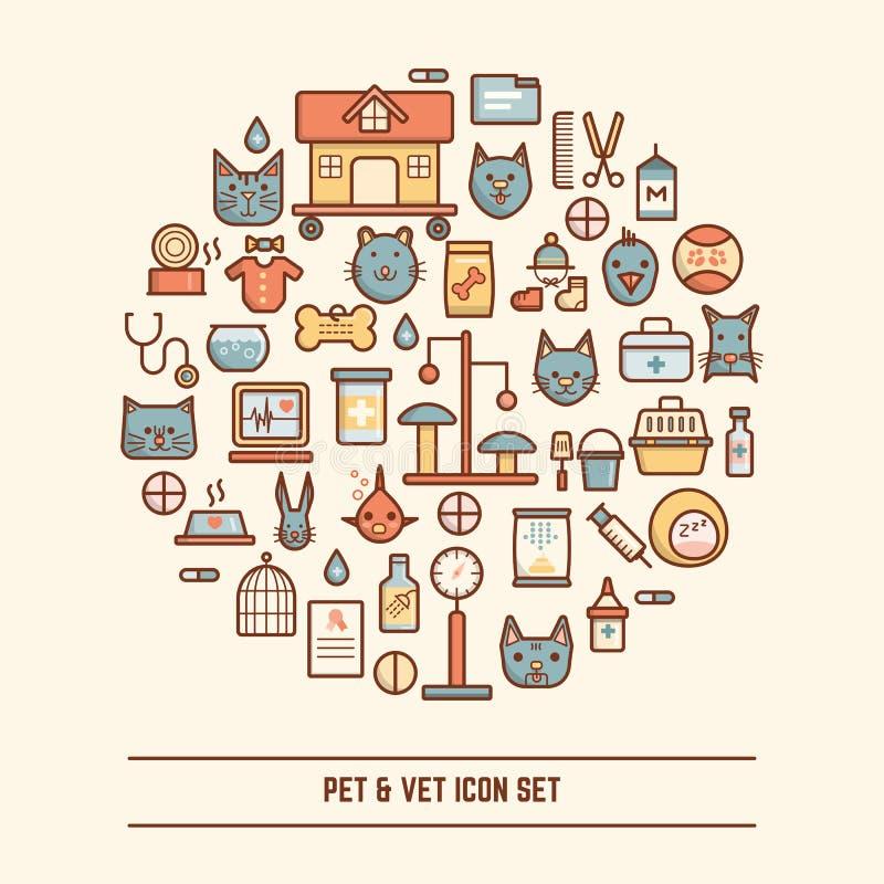 Pet και σύνολο εικονιδίων κτηνιάτρων ελεύθερη απεικόνιση δικαιώματος