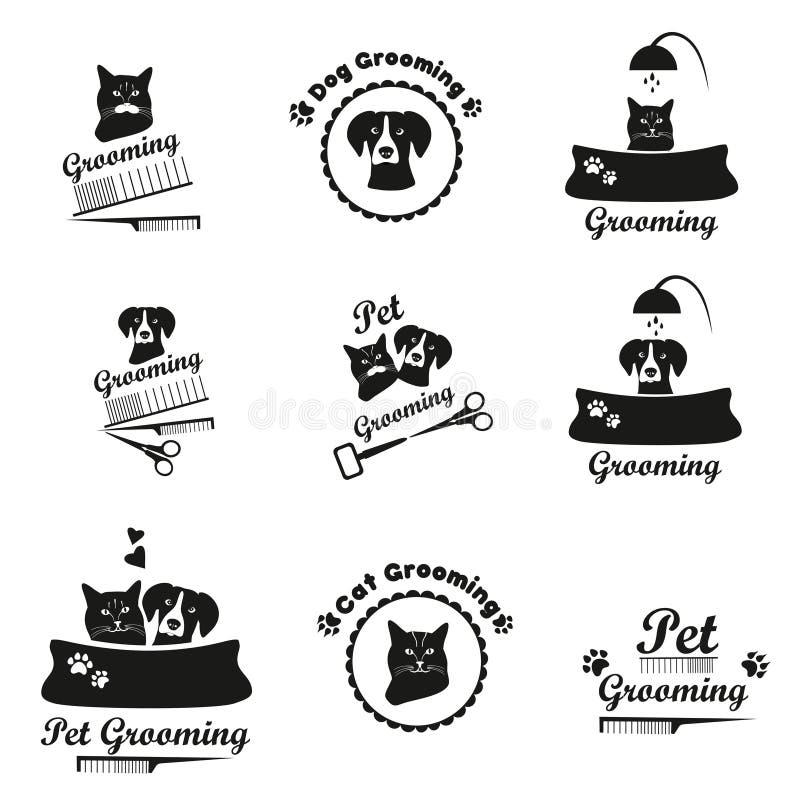Pet που καλλωπίζει το λογότυπο, ετικέτα, bages μαύρη συλλογή εμβλημάτων διανυσματική απεικόνιση