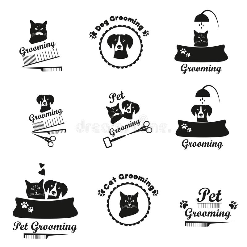 Pet логотип холить, ярлык, собрание эмблемы bages черное иллюстрация вектора