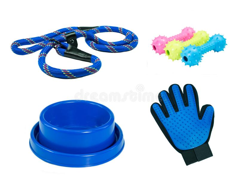 Pet accessories on isolated white background. Bowls, leashes, rubber toys and rubber gloves stock photos