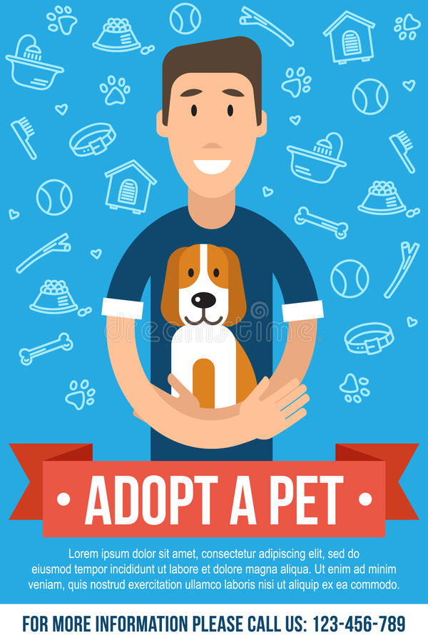 Pet adoption poster. Vector template for pet adoption poster. Happy man is hugging an adopted dog. Flat style royalty free illustration