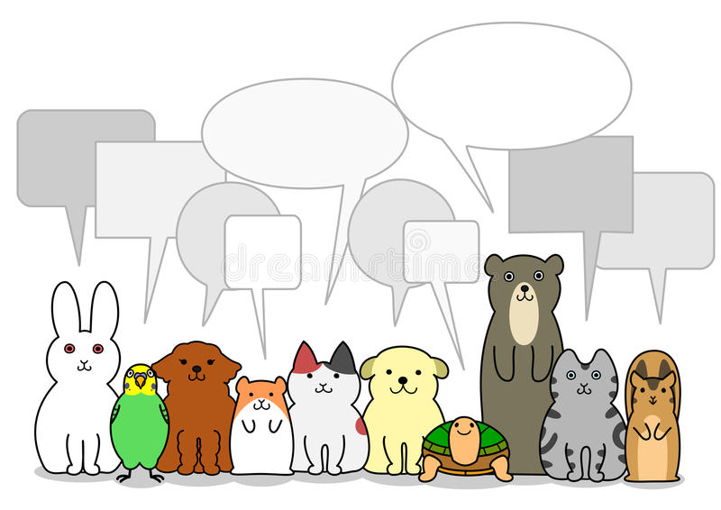 Pet animals group with speech bubbles vector illustration