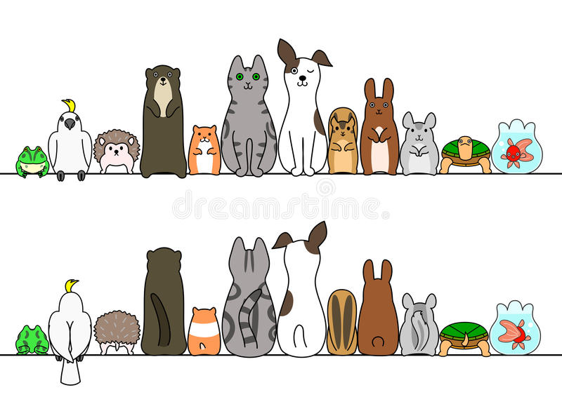 Pet animals in line, front and back vector illustration