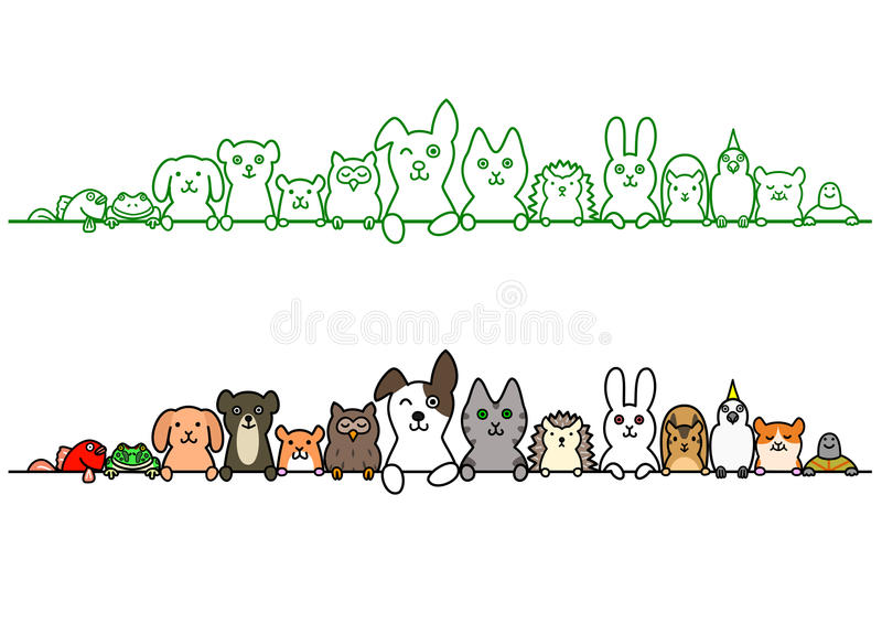 Pet animals in a row with copy space. Cute pet animals in a row with copy space