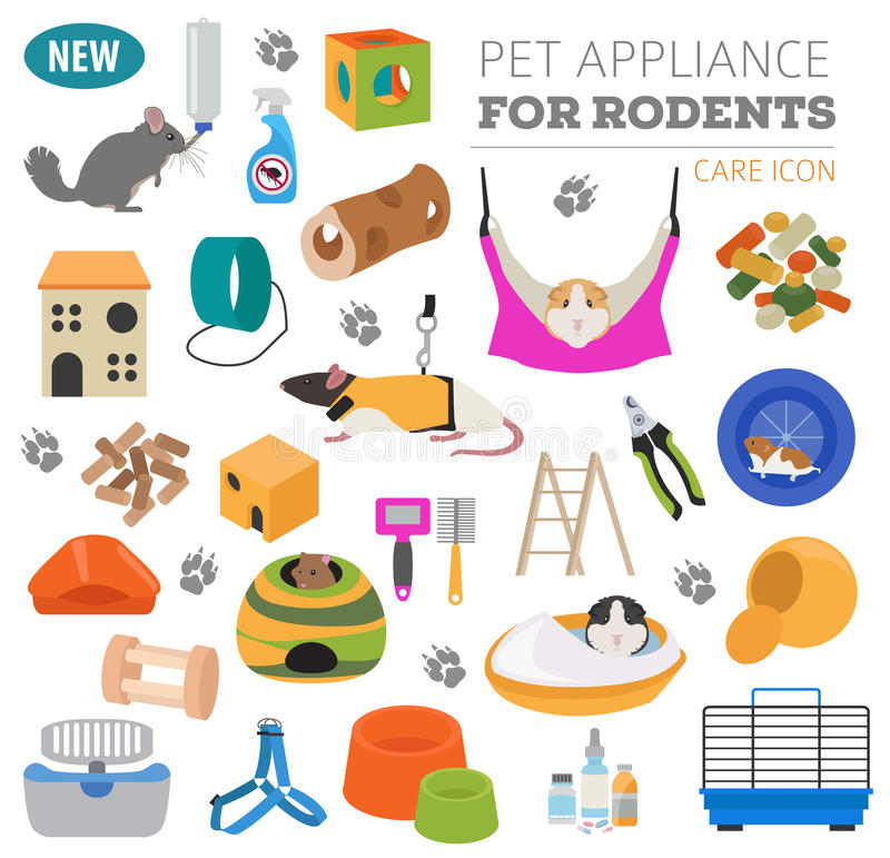 Pet appliance icon set flat style isolated on white. Rodents car. E collection. Create own infographic about guinea pig, rat, hamster, chinchilla, mouse, rabbit royalty free illustration