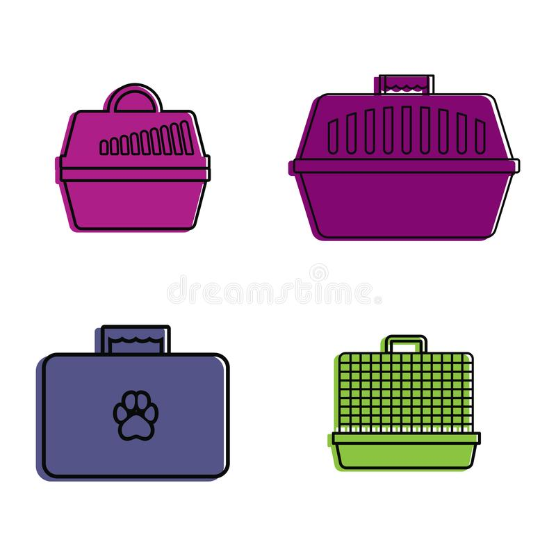 Pet bag icon set, color outline style stock illustration