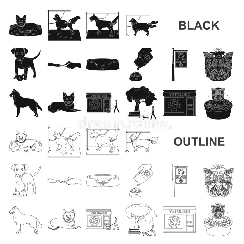 Pet black icons in set collection for design. Care and education vector symbol stock web illustration. Pet black icons in set collection for design. Care and vector illustration