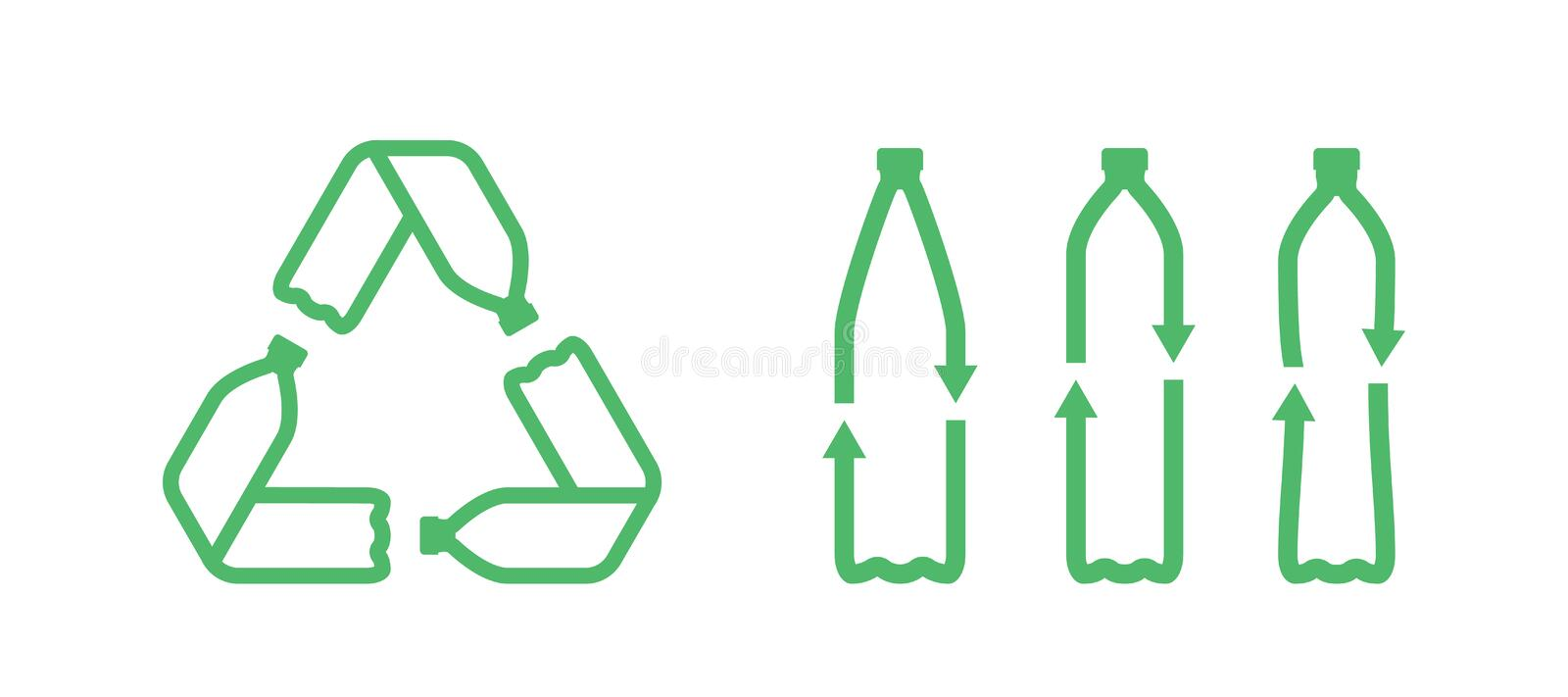 Pet bottles form mobius loop or recycling symbol with arrows stock illustration