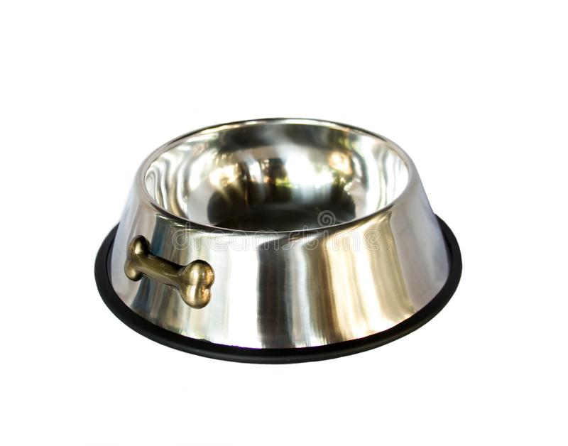 Pet bowl stainless steel on isolated white background. royalty free stock images