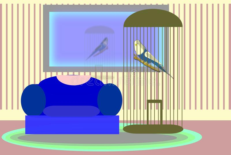 Pet budgie. In a cage in a livingroom setting royalty free illustration