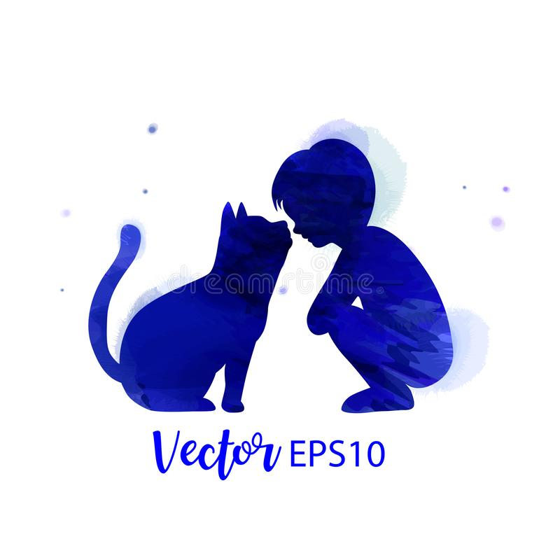 Pet care. A Boy playing with cat  silhouette on watercolor background. The concept of trust, friendship . Digital art painting.  royalty free illustration