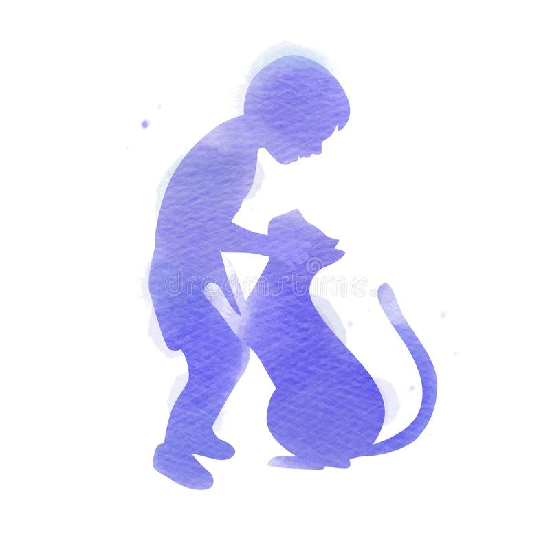 Pet care. A Boy playing with cat  silhouette on watercolor background. The concept of trust, friendship . Digital art painting.  vector illustration