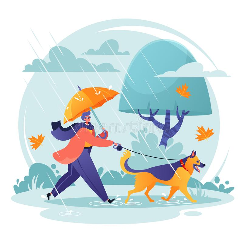 Pet care concept. Man walking his dog in spite of adverse weather conditions. royalty free illustration
