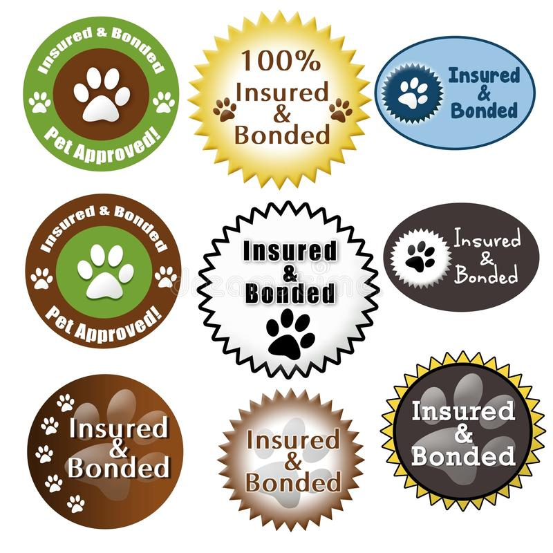 Free Pet Care Insured And Bonded Seals Royalty Free Stock Image - 25652156