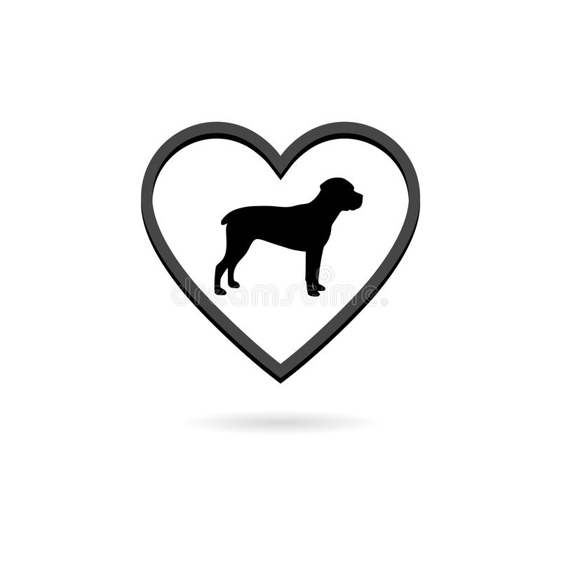 Pet care logo. Silhouette dog in heart shape flat icon vector illustration