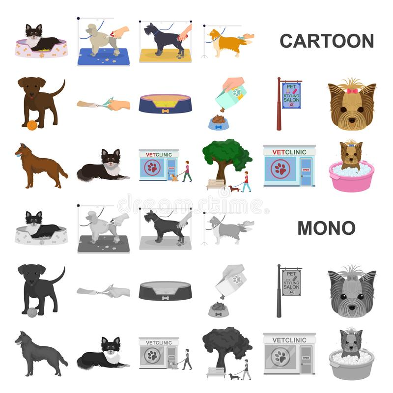 Pet cartoon icons in set collection for design. Care and education vector symbol stock web illustration. Pet cartoon icons in set collection for design. Care stock illustration