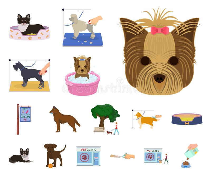 Pet cartoon icons in set collection for design. Care and education vector symbol stock web illustration. Pet cartoon icons in set collection for design. Care royalty free illustration