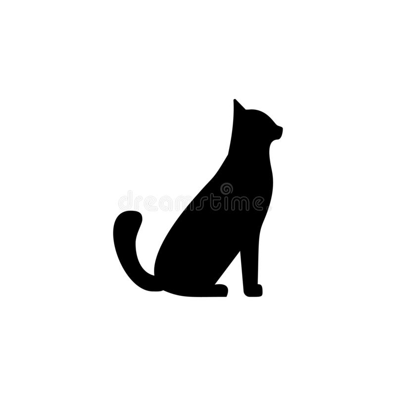Pet cat icon. Simple glyph vector of universal set icons for UI and UX, website or mobile application. On white background stock illustration