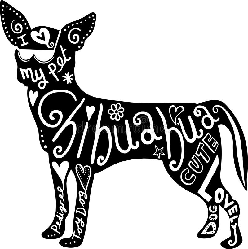 Pet Chihuahua Dog. Hand drawn illustration of a chihuahua dog silhouette with doodle text and shapes added to it royalty free illustration