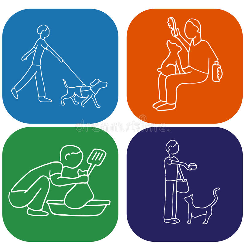 Pet Chores. An image of a man doing pet chores royalty free illustration