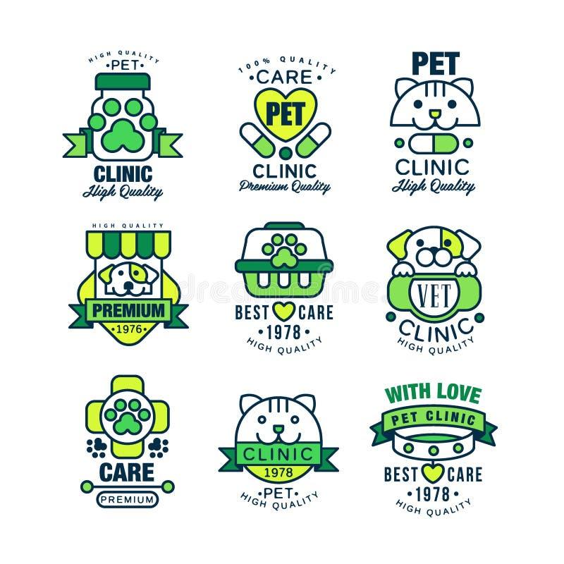 Pet clinic logo set, high quality, best care 1978 vector Illustrations stock illustration