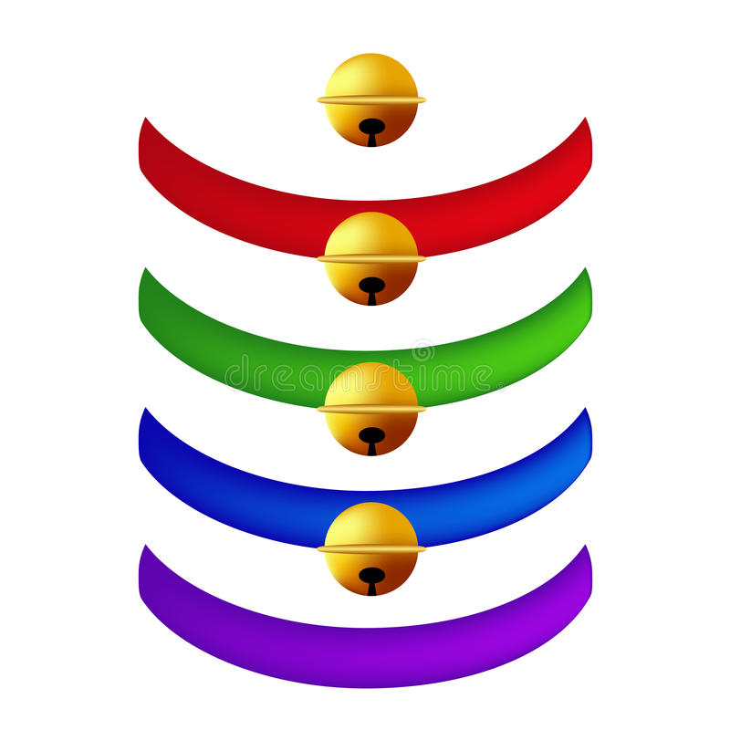 Pet Collar with Golden Ball Collection. Red, Green, Blue, Purple Belts. on White Background. Vector Illustration stock illustration