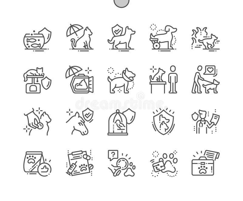 Pet do vetor perfeito bem feito do pixel do seguro a linha fina grade 2x dos ícones 30 para gráficos e Apps da Web ilustração do vetor
