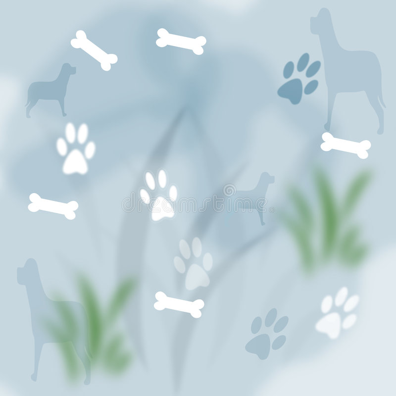 Pet Dog Background. Blue and Green, tone on tone background features dog bones, paws and silhouette bodies. Canine themed Background