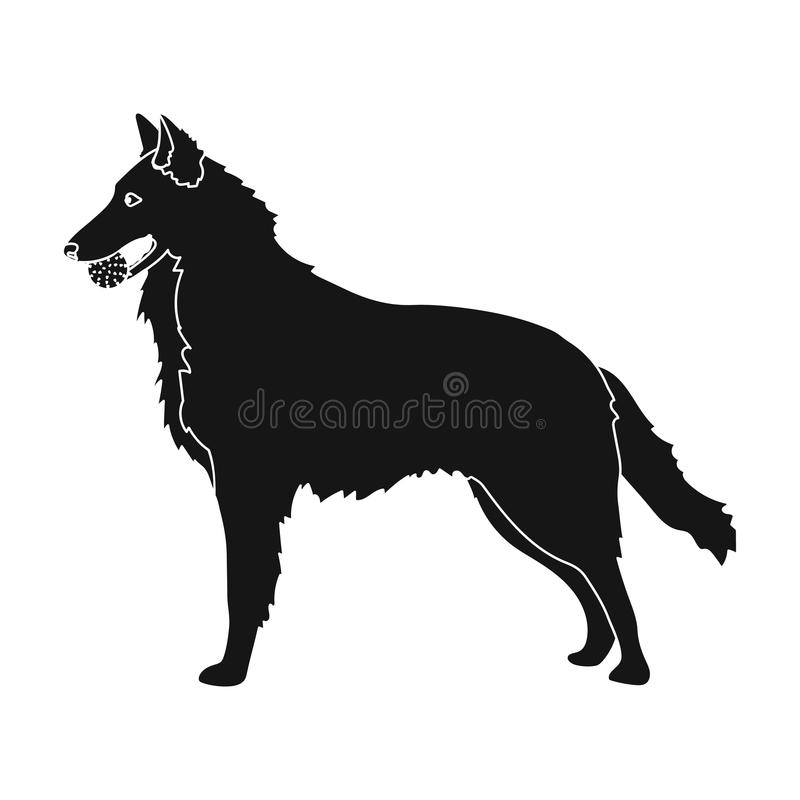 A pet, a dog with a ball in his teeth, a German shepherd. Pet ,dog care single icon in black style vector symbol stock. A pet, a dog with a ball in his teeth, a stock illustration