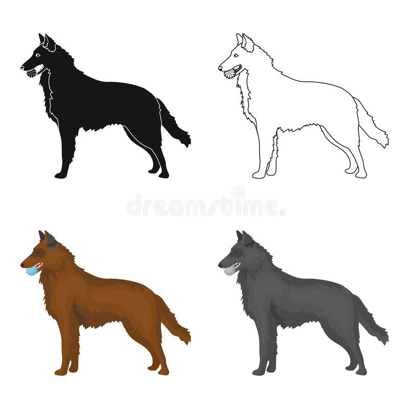 A pet, a dog with a ball in his teeth, a German shepherd. Pet ,dog care single icon in cartoon style vector symbol stock. A pet, a dog with a ball in his teeth stock illustration
