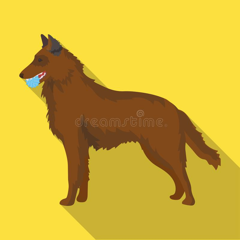 A pet, a dog with a ball in his teeth, a German shepherd. Pet ,dog care single icon in flat style vector symbol stock. A pet, a dog with a ball in his teeth, a stock illustration