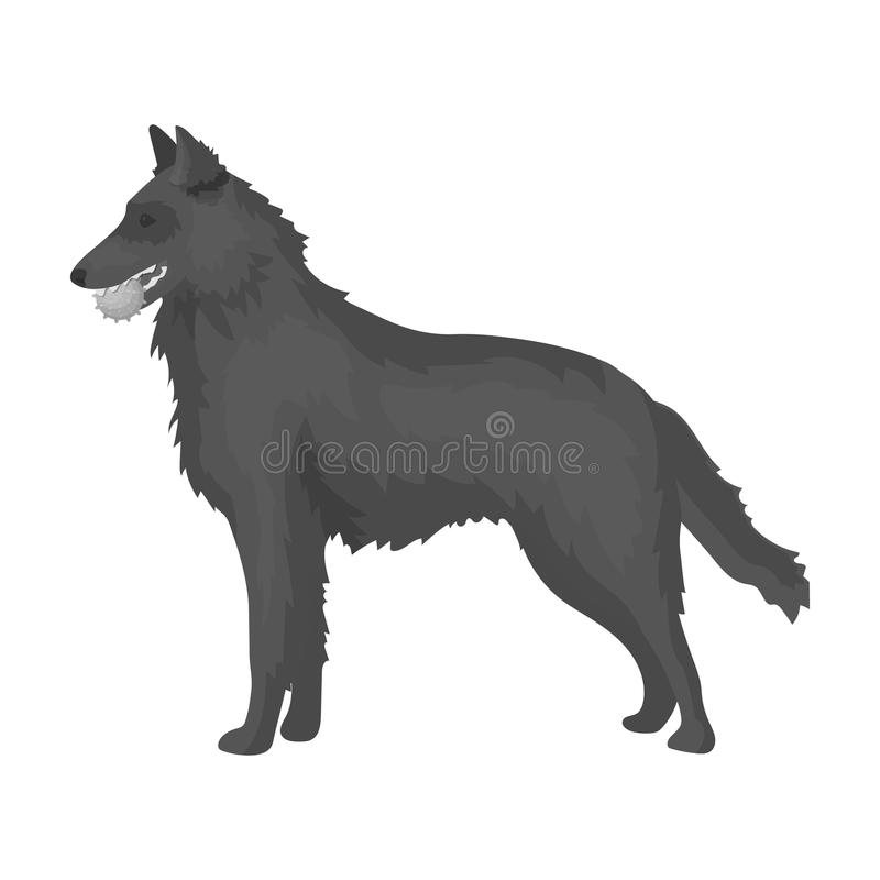 A pet, a dog with a ball in his teeth, a German shepherd. Pet ,dog care single icon in monochromt style vector symbol. A pet, a dog with a ball in his teeth, a vector illustration