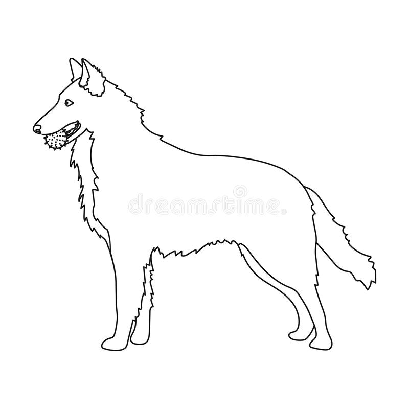 A pet, a dog with a ball in his teeth, a German shepherd. Pet ,dog care single icon in outline style vector symbol stock. A pet, a dog with a ball in his teeth vector illustration