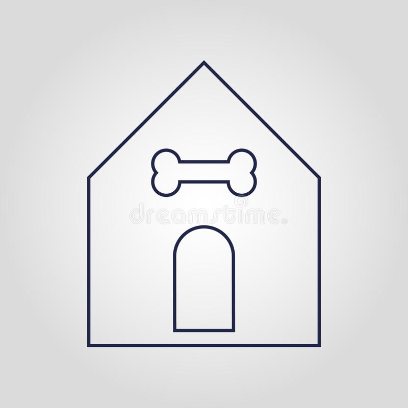 Pet or dog Home icon isolated flat linear vector icon on white background vector illustration